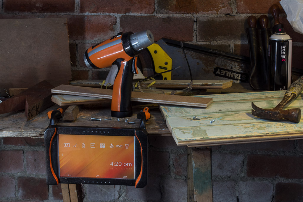 tablet and drill in garage